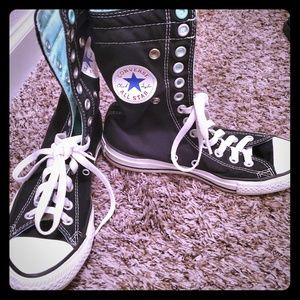 Converse black & teal high top shoes sneakers 7